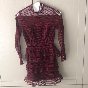 Self Portrait Tiered Lace Mini Dress